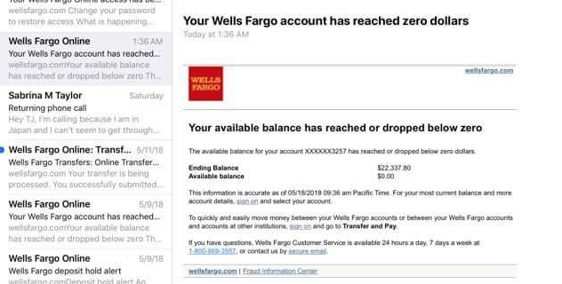 Screenshot of Wells Fargo email indicating the $22K removed from Sabrina's account.